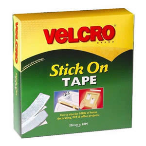 Jumbo Pack of VELCRO® Brand White Stick On Tape 20mm x 10M (60219)