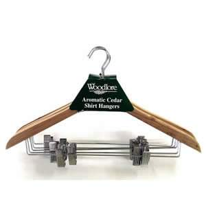 5x Woodlore Shirt Hangers 44cm  with Clips from Caraselle