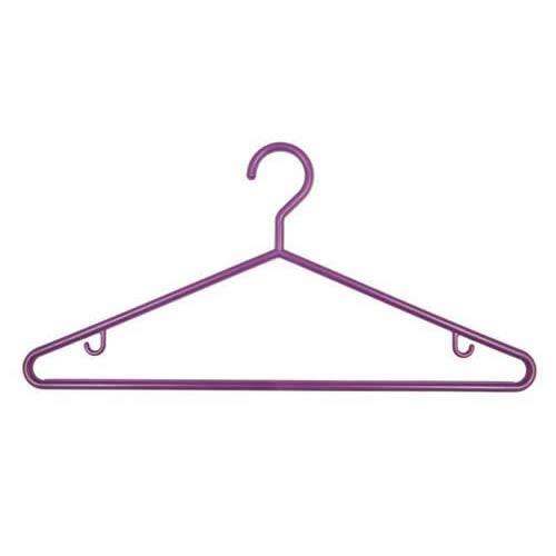 3 PURPLE PLASTIC COAT CLOTHES HANGERS Skirt Hooks /& Trouser Bar *UK SELLER* 1230
