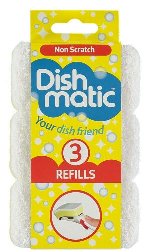 3x White Non-Scratch Dishmatic Refill Sponges from Caraselle