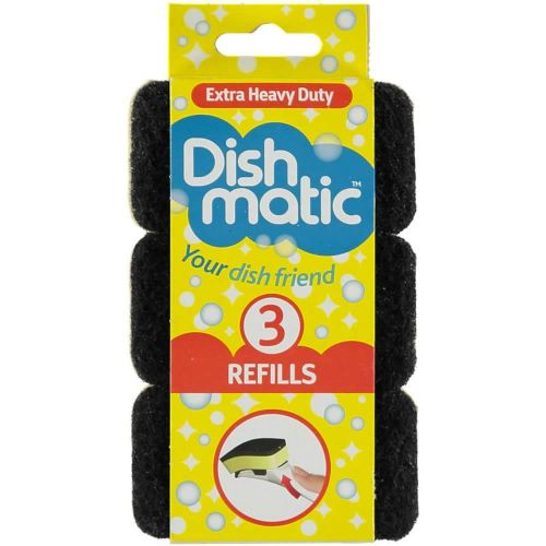 3 Extra Heavy Duty Dishmatic Black Refill Sponges from Caraselle
