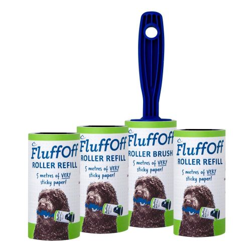 FluffOff Roller Brush & 3 x Refills total of 30m of sticky paper