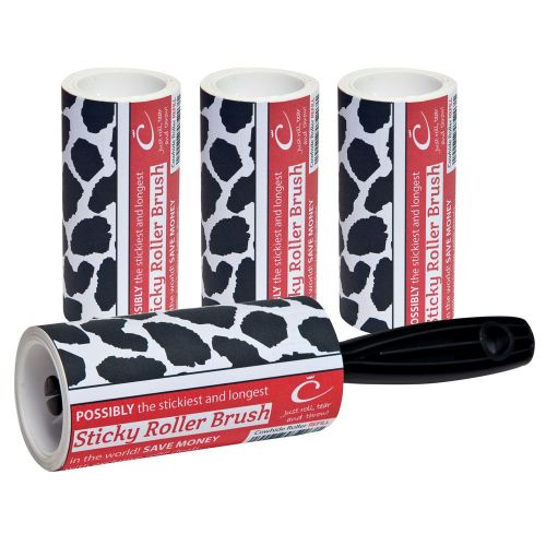 Caraselle Cowhide Sticky Roller Brush & 3 Refill& 30m of sticky paper