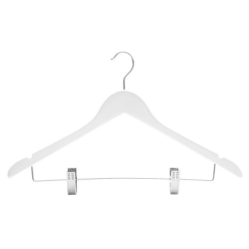 White Wooden Suit Hangers with clips