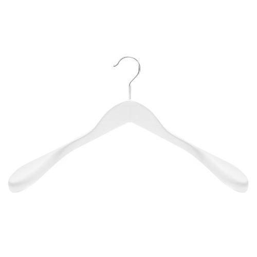 white shaped wooden jacket hanger