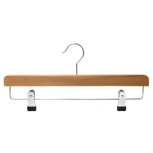 Caraselle Deluxe Natural Wooden 37cm Trouser Hanger with Chrome Clips