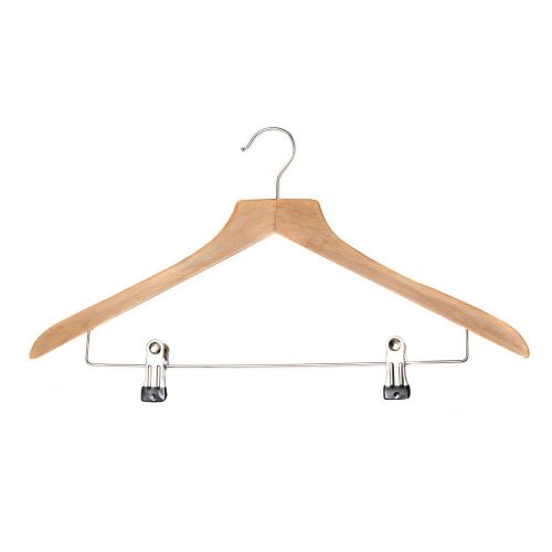 1 Wooden Suit Hanger with Clip Bar - 39cm by Caraselle