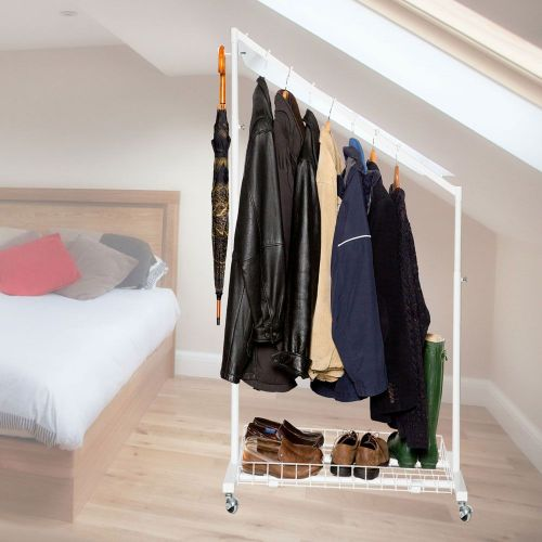 understairs clothes rail in white 88cm width with bottom. Black Bedroom Furniture Sets. Home Design Ideas