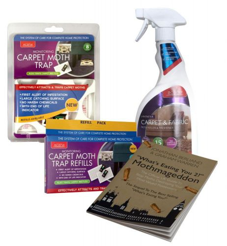 Caraselle Carpet Moth Killer Pack with Carpet Spray, Moth Trap & Refills & Moth Book
