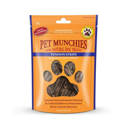 Pet Munchies Dog Treats Venison Strips 75g - 100% Natural 1931