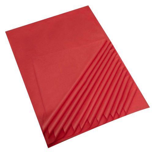 "Red Acid Free Tissue Paper Premium Grade 17 GSM paper measures : 500 x 750mm (20"" x 30"") 25 sheets per pack"