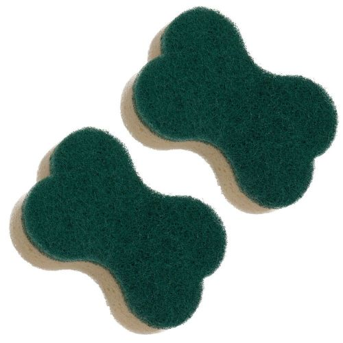 2x Dishmatic Pet Bowl Refills -1 x Pack of 2 Heavy Duty Washing-Up Brush Refills for Dog & Cat Food - Made in UK