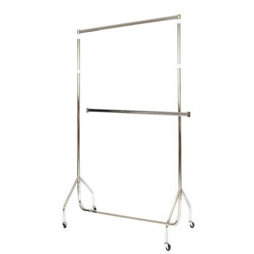 4'Chrome Steel Extra High Garment Rail w Centre bar 122x185.5x50cm