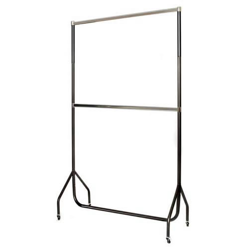 4' Black Extended Garment Rail with Chrome Top