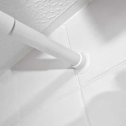 Expanding shower curtain rail in white | Strong & robust