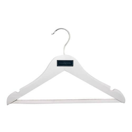 3 Deluxe Childrens Shaped Wooden Hangers with Non-Slip Trouser Bar & Notches. Each Hanger has a Different Slogan.