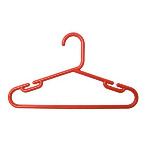 1 Pack of 10 Childs Red Polypropylene Hangers 30cms