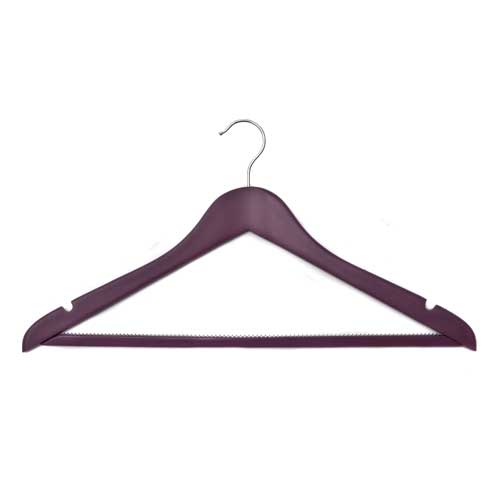 Plum Coloured Deluxe Shaped Maple Wood Suit Hanger with Non-Slip Trouser Bar 44cm wide