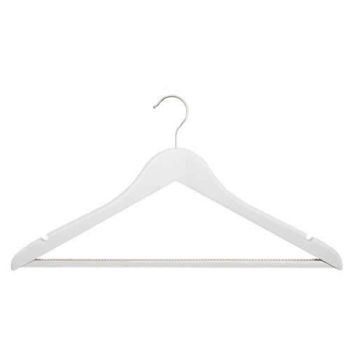 White Deluxe Shaped Maple Wood Suit Hanger with Non-Slip Trouser Bar 44 cms wide