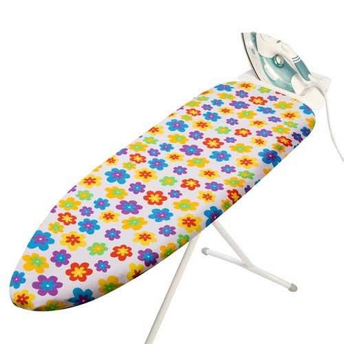 Elasticated FUNTIME Design 100% Cotton Ironing Board Cover with Thick Foam Backing. This Cover is Designed to fit Ironing Boards with an Ironing Surface of 131 x 44cms