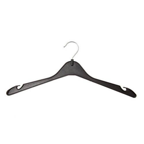 Black Shirt Hanger 41cm notches chrome hook Recycled Polypropylene