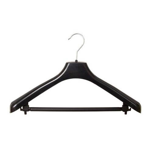 Shaped Suit Hanger chrome hook 44cm made Recycled Black Polypropylene