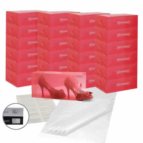 25 x Caraselle Red Ladies Shoe Boxes + 12 Clear Adhesive PVC Pockets + 25 sheets of Acid Free Tissue Paper